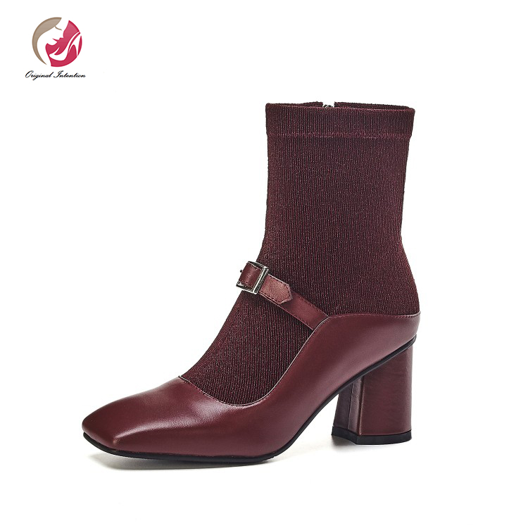 Original Intention Women High quality Ankle Sock Boots Square Toe Square Heels Boots Black Wine Red Green Winter Shoes Woman
