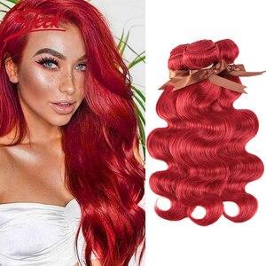 Гладкий норковый Цвет S, красный блонд, бразильские волнистые волосы, волнистые пряди, 8-28 дюймов, для наращивания волос, стиль Bugha, бесплатная...