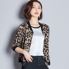 Autumn Jacket Women Silk Leopard Half Sleeve Bomber Plus Size XXXL Female
