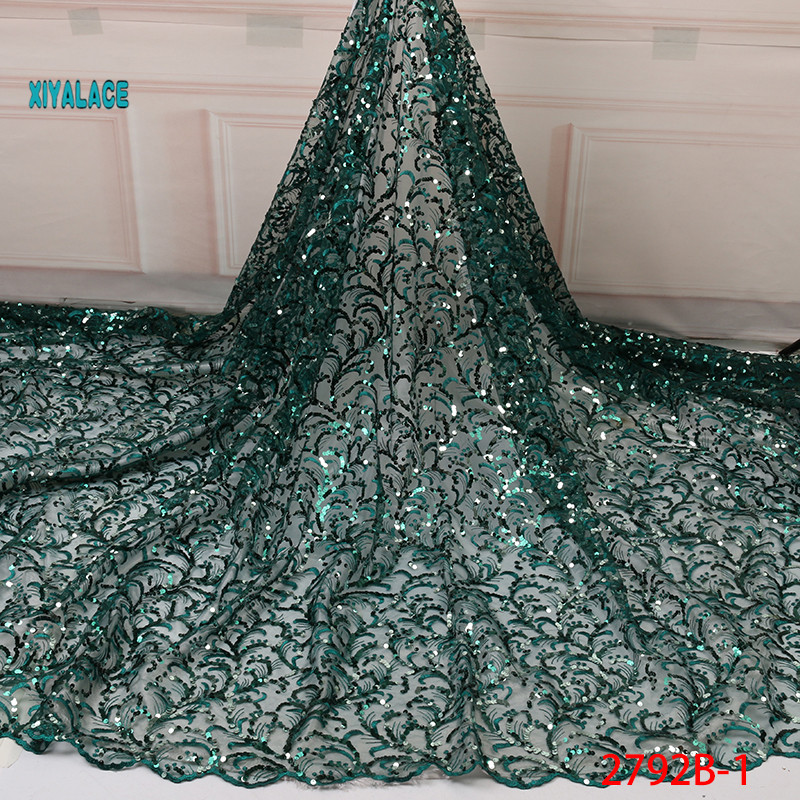 2019 Hot Selling African Nigerian Newest Net Lace Fabric Flower Sequins African Tulle Lace For Wedding Party Dress YA2792B-1