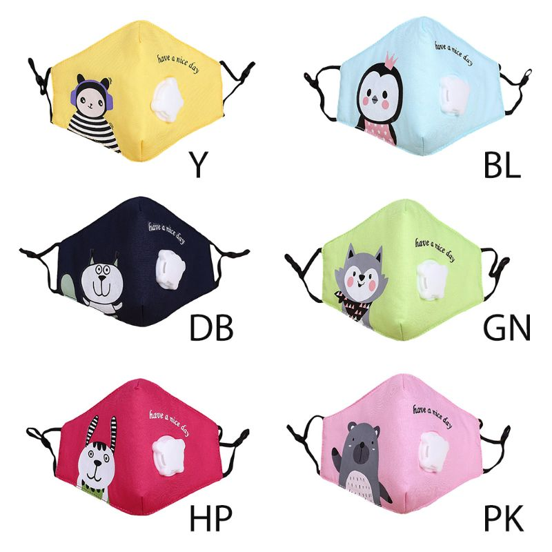 Kids Cotton Reusable Face Mouth Mask Cute Colorful Cartoon  Printed PM2.5 95AB