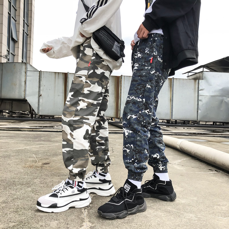Autumn And Winter New Style Korean-style Cool Popular Camouflage Casual Large Size Loose-Fit Beam Leg Bib Overall Pants Men's Tr