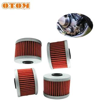 OTOM 4pcs Oil Filter Universal Motorcycle Engine Parts Machine Filters For HONDA CRF KAWASAKI KXF GAS GAS SUZUKI DRZ KLX image