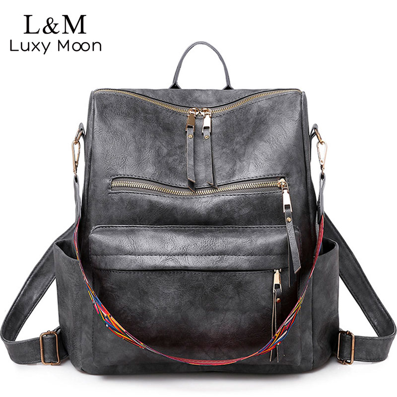 Multifunction Backpack Women Leather Backpacks Large Capacity Bag Vintage Back Pack With Ethnic Strap Mochila Mujer 2019 XA55H