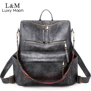 Image 1 - Multifunction Backpack Women Leather Backpacks Large Capacity Bag Vintage back pack With Ethnic Strap mochila mujer 2020 XA55H