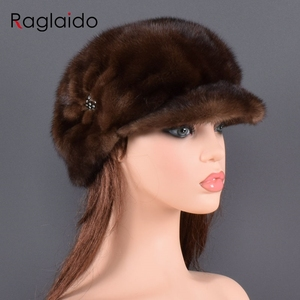 Image 1 - אופנה מינק פרווה כובע לנשים אמיתי טבעי פרווה כל למעלה אביזרי חם ברוסית חורף כובעי פרווה ליידי