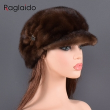 Fashion mink fur cap for Women Real natural Whole fur hat Top accessories Warm In Russian Winter fur Hats for lady