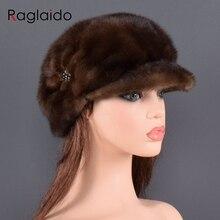 Moda vizon kürk kap kadınlar için gerçek doğal bütün kürk şapka üst aksesuarları sıcak rus kış kürk şapkalar bayan