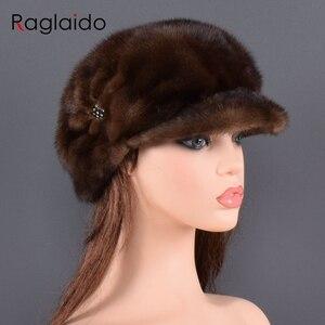 Image 1 - Moda vizon kürk kap kadınlar için gerçek doğal bütün kürk şapka üst aksesuarları sıcak rus kış kürk şapkalar bayan