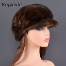 Modne futro z norek futro czapka dla kobiet prawdziwe naturalne całe futro kapelusz Top akcesoria ciepłe w rosyjskich zimowe futrzane czapki dla pani