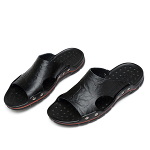 Image 5 - Summer Men Leather Slippers Mens Slides Chinelo Slide Masculino Slipper Plus Size Shoes Hot Sale Outside Flat 5 Colors