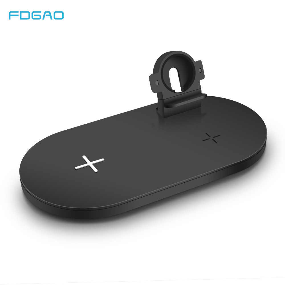 FDGAO צ 'י 3 ב 1 אלחוטי מטען עבור אפל שעון 15W מהיר טעינת Pad עבור iPhone 11 XS XR X 8 סמסונג S20 S10 S9 AirPods 2 פרו