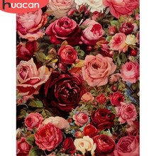 HUACAN Pictures Rose Flowers By Numbers HandPainted Coloring Drawing Kits Canvas Oil Painting DIY Home Decoration Gift(China)