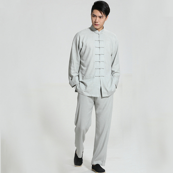 New Arrival Chinese Men's Solid Cotton Linen Kung Fu Suit Long Sleeve Wu Shu Tai Chi Sets Thin Buddhist Clothes S-3XL