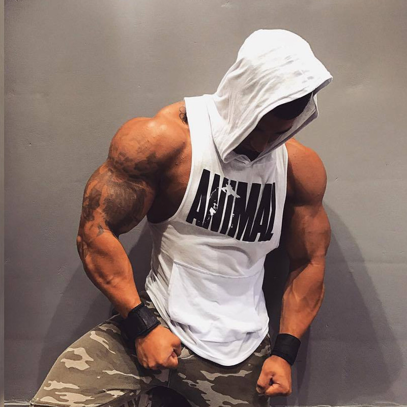 2019 Cotton Tank Top New Gyms Men Casual Vest Hooded Sleeveless Shirt Street Workout Fitness Tanktop Hoodie Bodybuilding Clothes