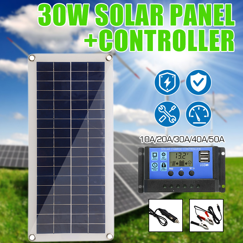 Solar Panel 30W 12V Dual USB Output Solar Cells Poly Solar Panel 10/20/30/40/50A Controller for Car Yacht Battery Boat Charger