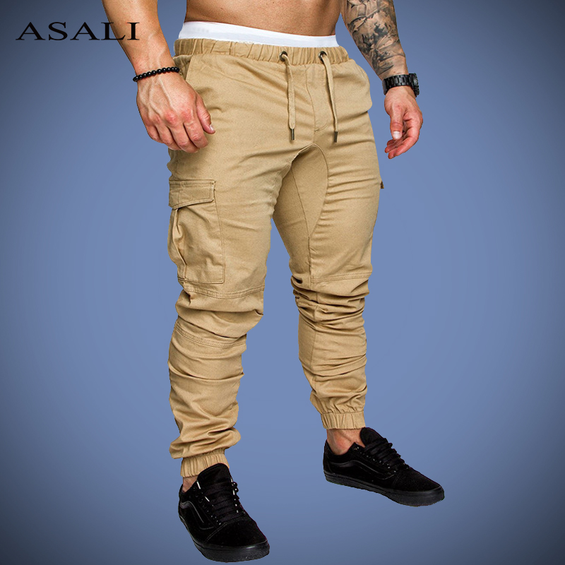 ASALI Sportswear Joggers Long-Trousers Multi-Pocket-Pants Elastic-Waist Male Men's Solid title=
