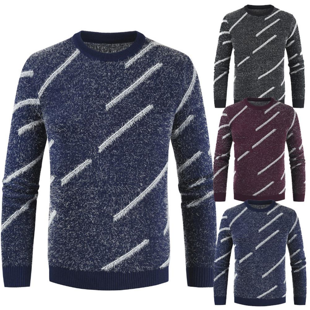 Wool Sweater Men In Men's Pullovers Round Neck Striped Color Knitted Sweater Mohair Combat Pullover Top Jersey Hombre Punto