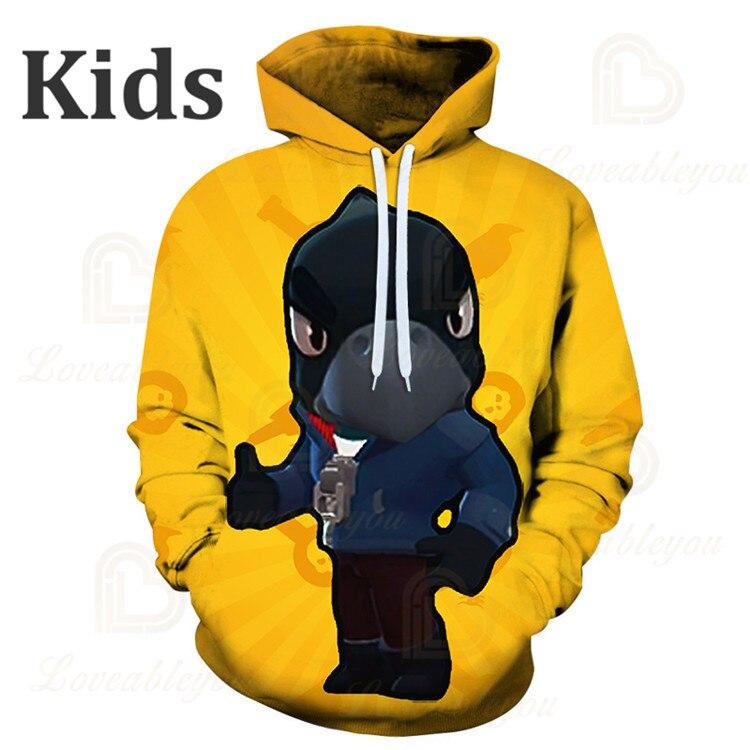 Cute Crow Shoot Brawls Game 3D Print Hoodies Men Clothing Harajuku Sweatshirt Kids Star Leon Child Tops Boys Girls