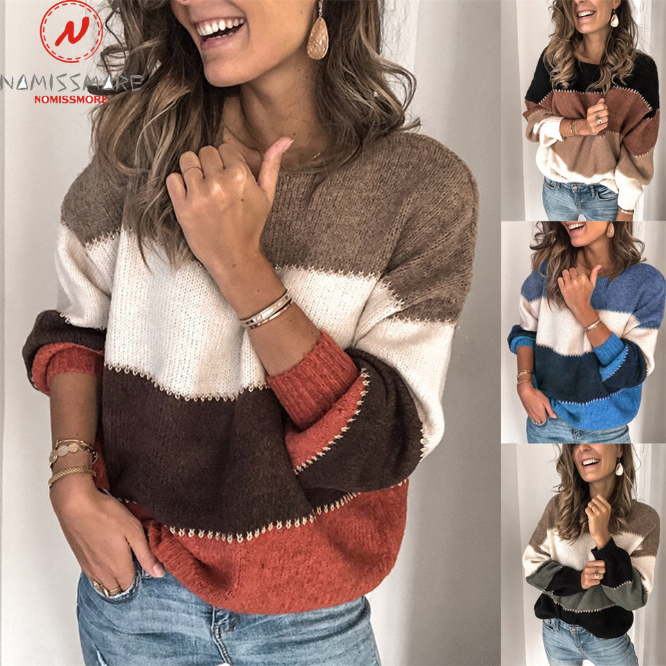 Women Autumn Winter Sweaters Patchwork Color Matching Design O-Neck Long Sleeve Casual Loose Pullovers Shirts For Streetwear