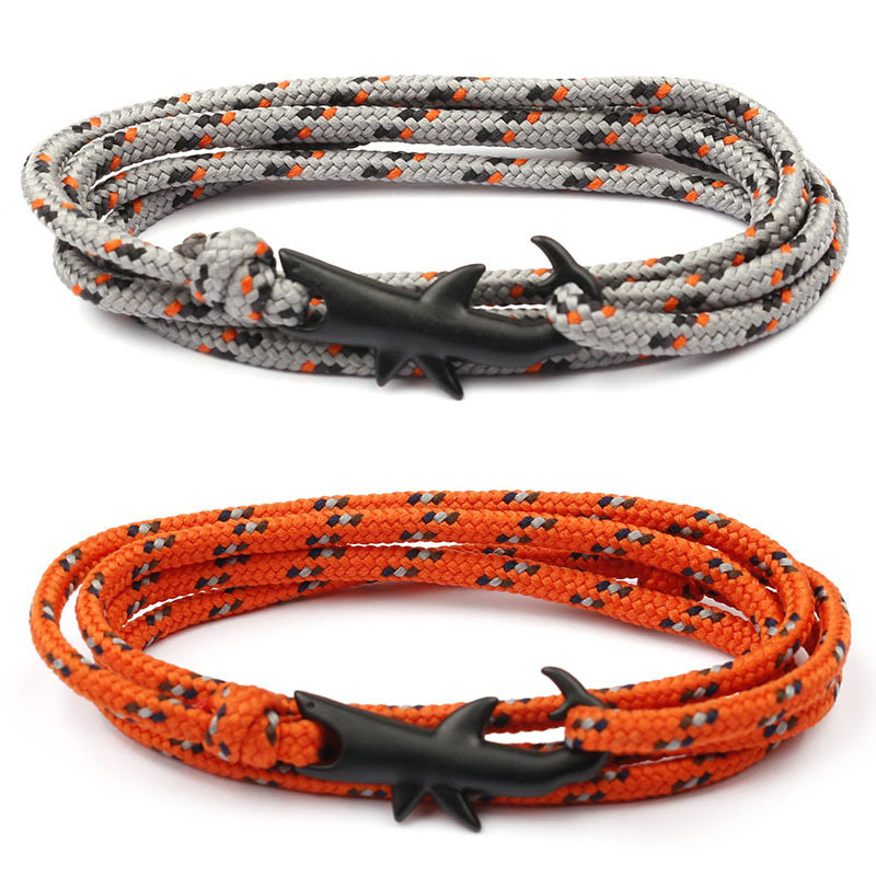 Viking Bracelets Black Color Shark Multilayer Rope Bracelet For Men Women Charm Survival Rope Chain Male Wrap Bracelet Jewelry