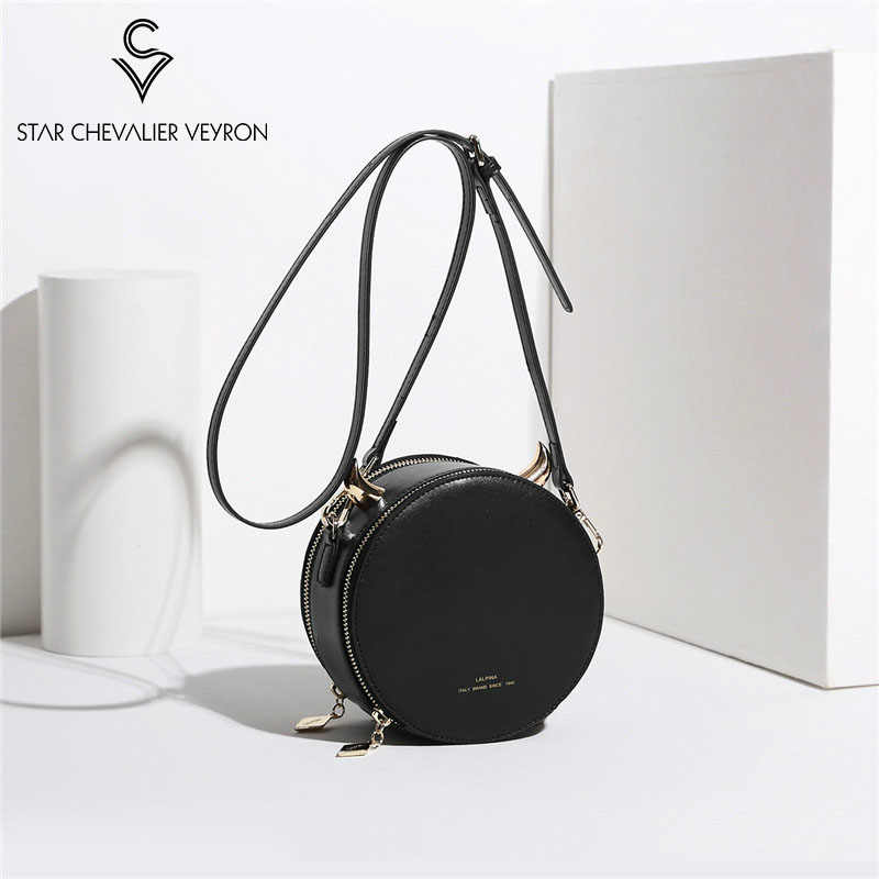 SCV 2019 New Fashion Women's Bag  Genuine Leather Shoulder bag Small Devil style Round Bag Crossbody