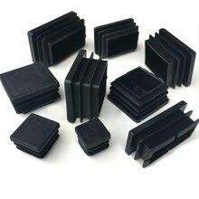 2/4/10pcs Square Plastic Black Blanking End Cap Tube Pipe Insert Plug Bung 10x10~100x100mm