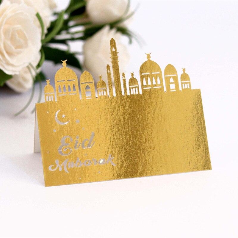 10Pcs Eid Mubarak Table Invitation Cards Napkin Ring Ramadan Kareem Decoration for Home Ramadan Mubarak Festival Party DIY Decor