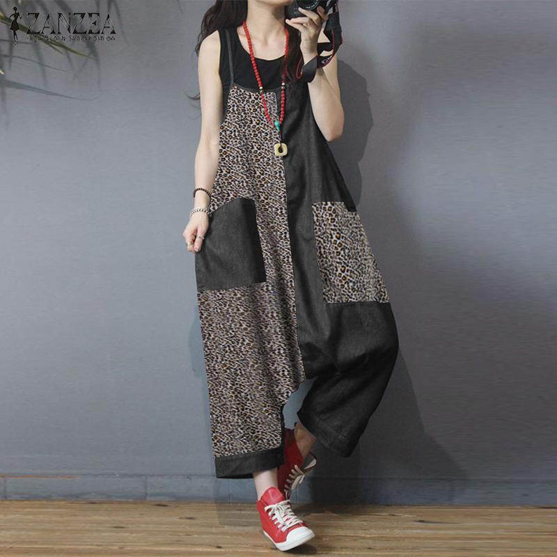 Summer Long Rompers ZANZEA Fashion Leopard Print Overalls Drop Crotch Jumpsuits Women Casual Strapps Patchwork Dungarees Pants