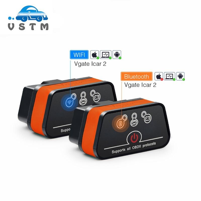 Диагностический инструмент Vgate iCar2 ELM327, устройство для считывания кодов с поддержкой Wi-Fi и Bluetooth, для IOS /Android/ПК, icar 2, Bluetooth, Wi-Fi, ELM 327