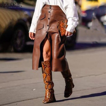 Stylish Button Skirts Women's PU Leather Vestidos ZANZEA 2020 High Waist Split Pockets Midi Skirts Female Solid Robe Plus Size
