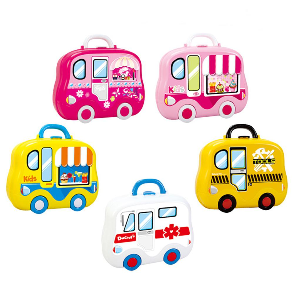 None Children Play House Game Toy Artificial Kitchen Suitcase Toy Set Mini Learn Cooking Beauty Engineering Early Education Toys