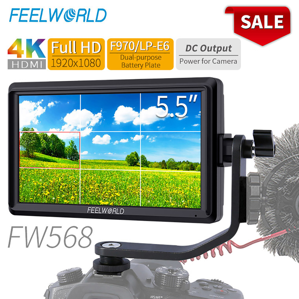FEELWORLD FW568 5.5 inch DSLR Camera Field Monitor 4K HDMI Full HD 1920x1080 LCD IPS DC Output Video Focus Assisting for Cameras image