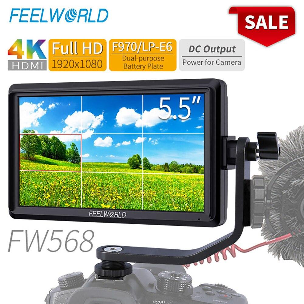 FEELWORLD FW568 5,5 pulgadas DSLR Cámara Monitor de campo 4K HDMI Full HD 1920x1080 LCD IPS salida de CC Enfoque de vídeo asistencia para cámaras