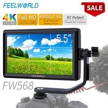 FEELWORLD Monitor de campo para cámara DSLR FW568, 5,5 pulgadas, 4K, HDMI, Full HD, 1920x1080, LCD, salida IPS, enfoque de vídeo CC, asistencia para cámaras