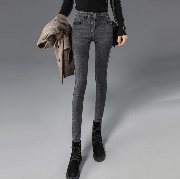 2019  winter new style plus velvet high waist jeans women's skinny feet pants were thin stretch pencil pants KV222-1-12