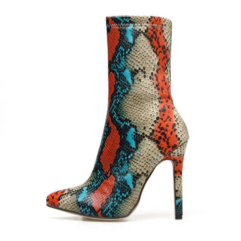 2019 nuevas botas de tacón alto de 11,5 cm para mujer, botas de Punta puntiagudas elegantes, botas de tobillo para fiesta, Otoño, estampado de piel de serpiente los zapatos de Stripper
