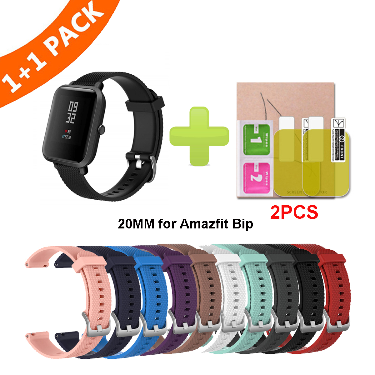 Silicone Strap For Amazfit Bip Strap Youth Smart Watch Soft Strap Bracelet For Xiaomi Huami Amazfit Bip With Protective Film