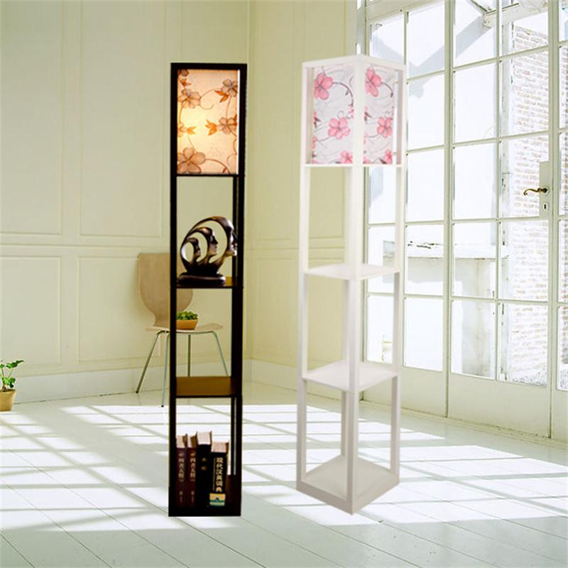 US $26.88 52% OFF|Modern Wooden Floor Lamps Bookshelf Floor Stand Lights  Tea Table Standing Lamp Living Room Bedroom Locker Nightstand Lighting-in  ...