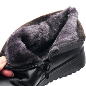 Image 5 - GKTINOO 2020 Fashion Winter Boots Women Leather Ankle Warm Boots Mom Autumn Plush Wedge Shoes Woman Shoes Big Size 35 41