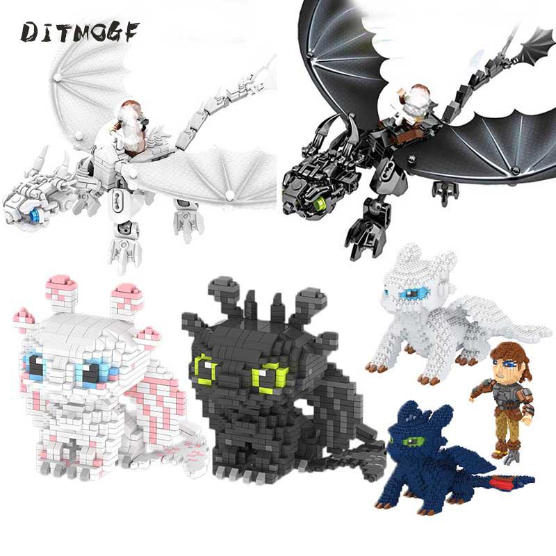 Dragon 3 Legoinglys Toothless Night Fury Light Fury Dragon Building Blocks Brick Toys For Children B830