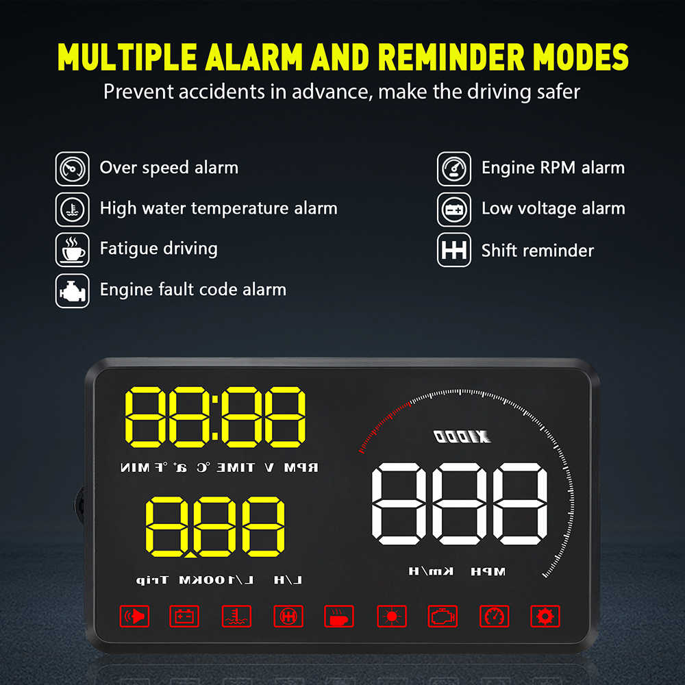 A9 السيارات هود رئيس متابعة العرض OBD2 II سيارة التصميم هود عرض السرعة الزائدة تحذير نظام سرعة الزجاج الأمامي العارض الجهد إنذار 5