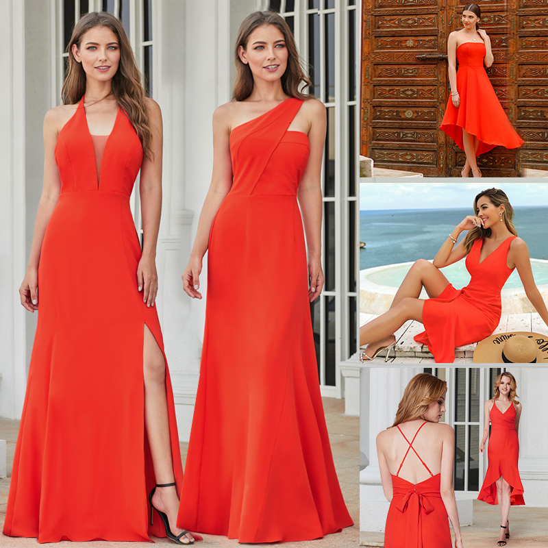 Sexy Evening Dresses Long Ever Pretty EP07247OR A-Line V-Neck Sleeveless Side Split Simple Formal Party Gowns Lange Jurk 2020