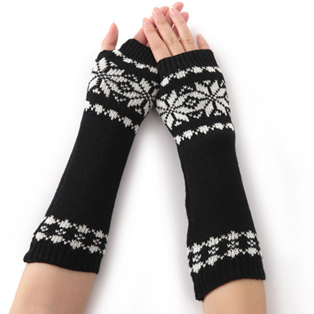 Long Winter Fingerless Arm Knit Gift Snow Pattern Gloves Warm For Women Girls