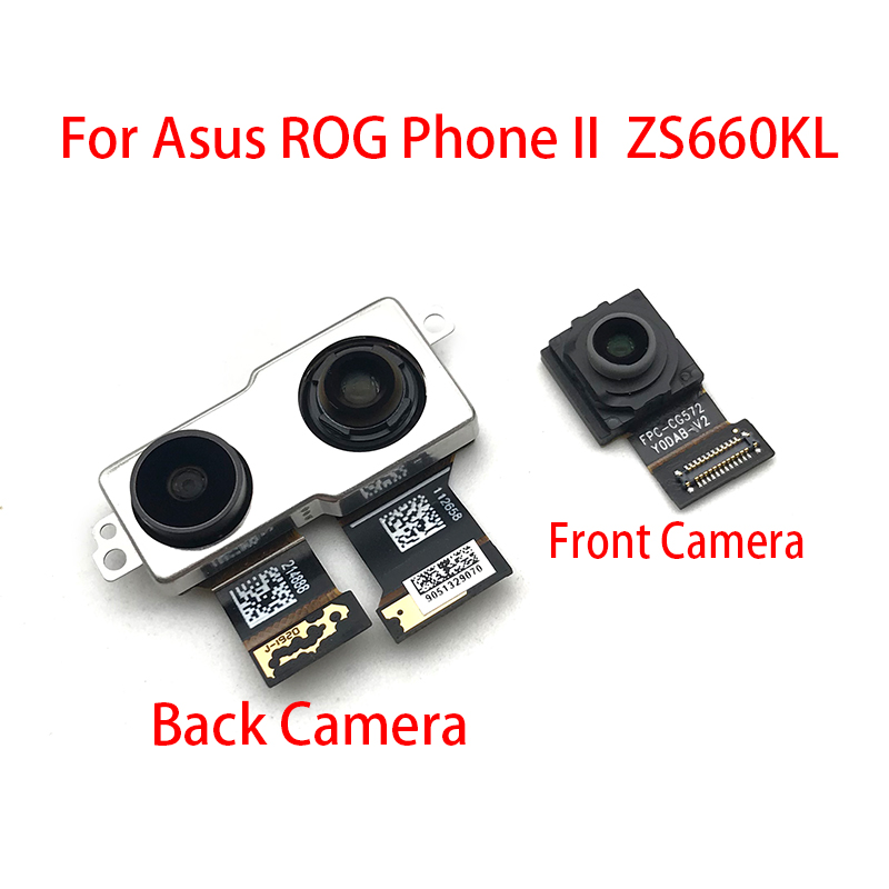 New For ASUS ROG Phone II ZS660KL 2019 Back Rear Camera Module Flex Cable +Front Facing Camera Replacement