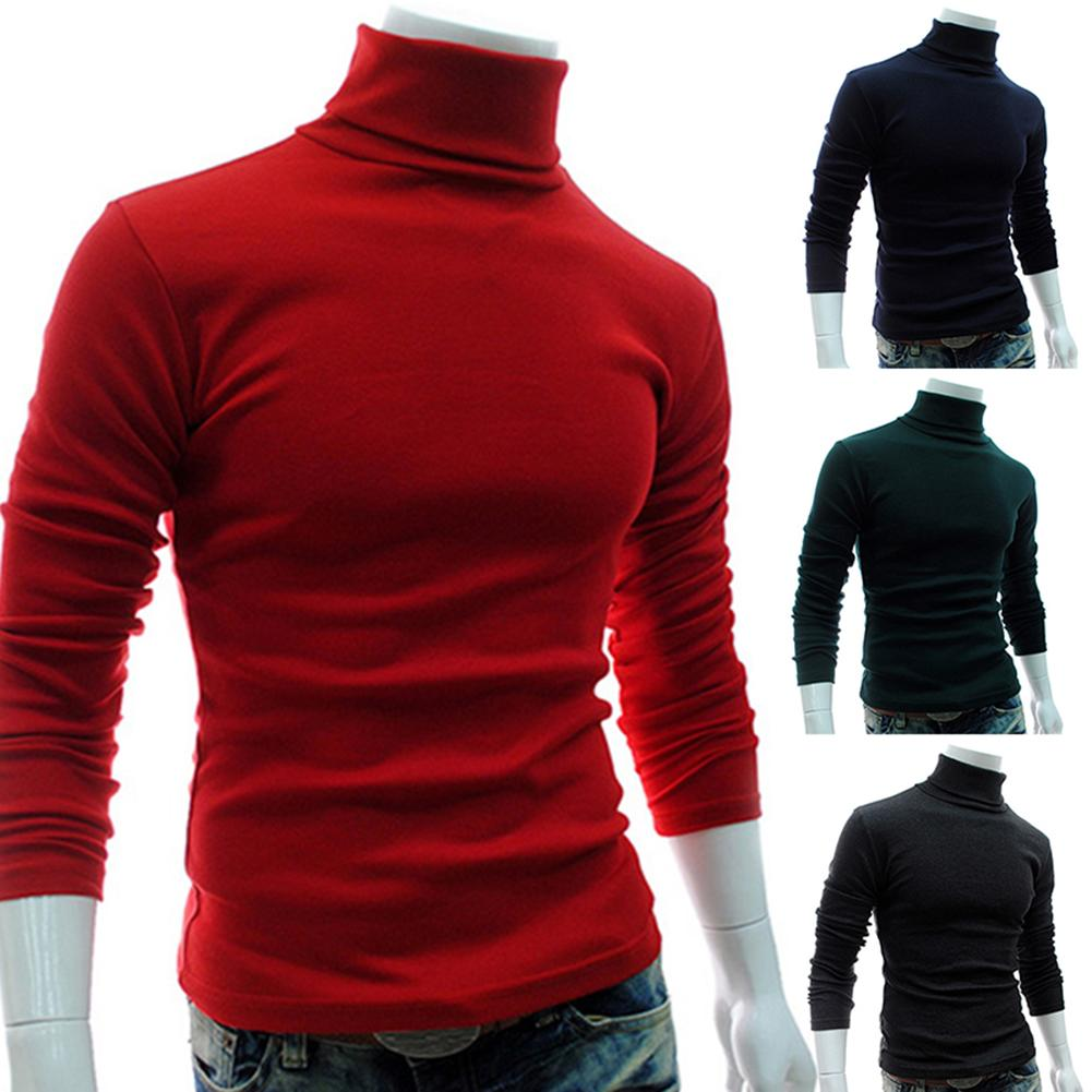 Autumn Men Sweaters Solid Color Turtle Neck Long Sleeve Sweater Slim Knitted Pullover Top