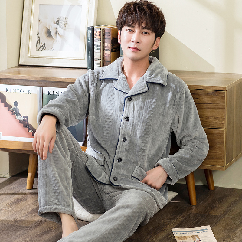 Winter Warm Flannel Pajamas Set For Men Lounge Male Coral Fleece Sleepwear Blanket Nightgown Home Clothes Winter Thicken Pajama