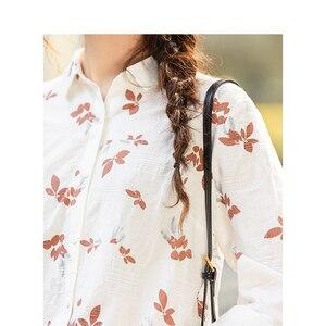 Image 4 - Xã Inman Mùa Đông 100% Cotton Cổ Gập Văn Học Hoa Dài Tay Cho Nữ Áo