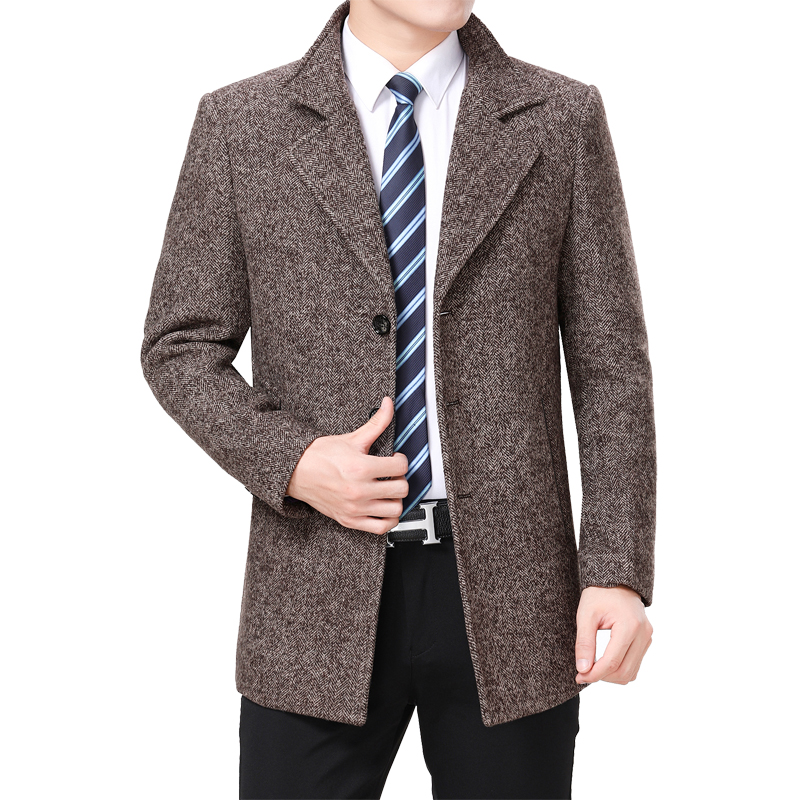2020 Men Wool Coat Autumn Woolen Jacket Pea Сoat Winter Wool Blend Jacket High Quality Men Tweed Coat Korean Turn-down Collar