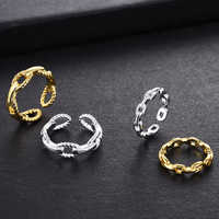 South Korea's Dongdaemun Customize Fashionable Handsome Simple Wild Ring Big Hot Chain Wind Opening Adjustable Ring Female